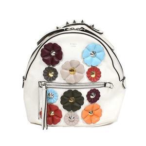 Fendi FENDI Flower Mini Backpack 8BZ035 Calf White Women