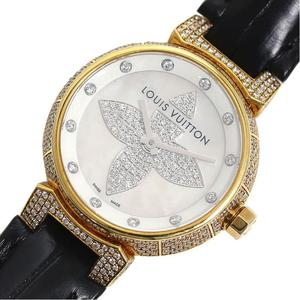 Louis Vuitton LOUIS VUITTON Tambour Forever Q121Q Quartz Gold Solid Diamond Ladies Watch