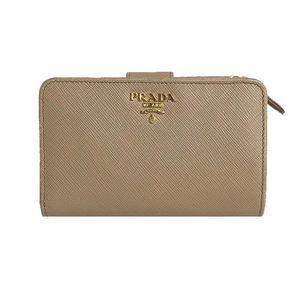 Prada PRADA Compact Zip 1ML 225 CAMMEO Safiano Two-fold wallet Women