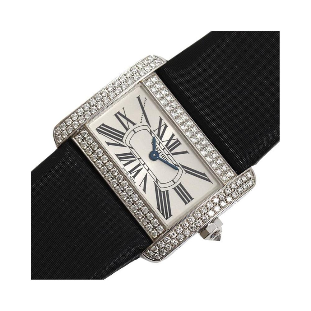 Cartier Tank Divan SM WA301236 Quartz WG Solid Diamond Bezel Ladies Watch