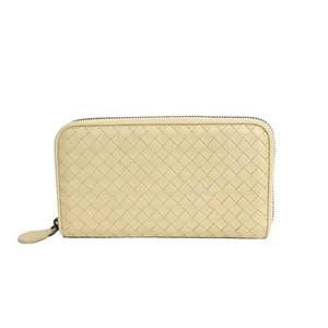 Bottega BOTTEGA VENETA Intrecherto round zipper long wallet leather beige