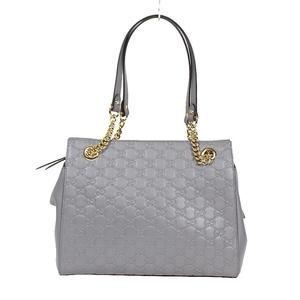 Gucci GUCCI Signature Chain Shoulder Bag 453773 Gray Women