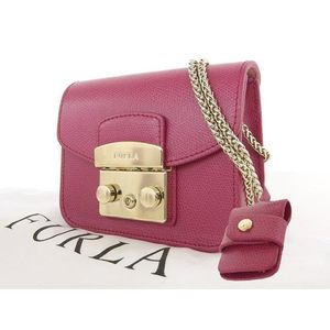 FURLA Furla Leather Chain Shoulder Pochette Bag Pouch Pink [20170414]