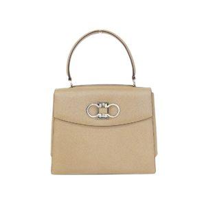 Salvatore Ferragamo double Gancini leather shoulder bag hand beige [20160424]