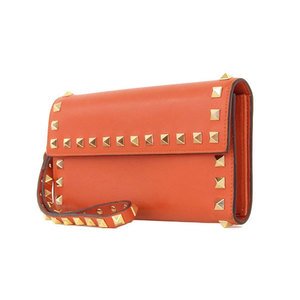 VALENTINO Valentino with lock studs Folded long wallet leather orange [20170830]