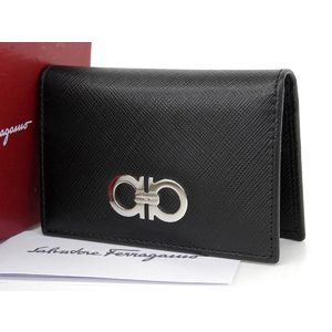 Salvatore Ferragamo Gancini Leather Card Case Business Holder Black [20180313]