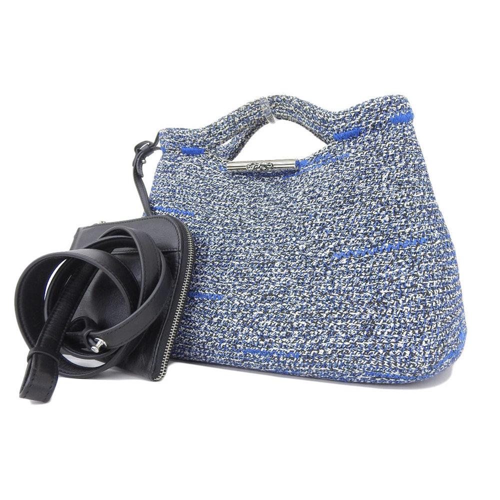 BALENCIAGA Balenciaga Tweed 2way handbag shoulder tricolor black blue white [20180424]