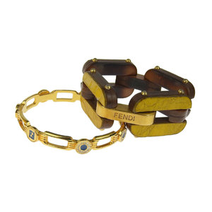 FENDI Fendi 2-piece set Wood Link Bracelet Flower Pattern Bangle Brown Gold [20180123]