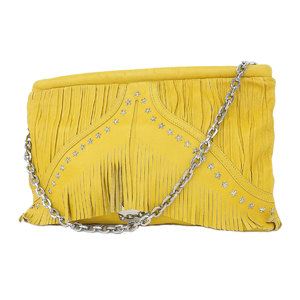 JIMMY CHOO Jimmy Choo Star Studs Fringe Chain Shoulder Bag Clutch Yellow [20180430]