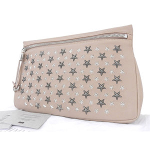 Jimmy Choo Leather,Metal Clutch Bag Pink Beige