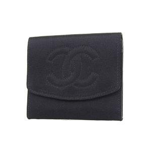CHANEL Chanel satin cocomark coin case purse wallet black [20180208]