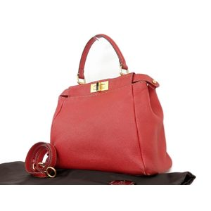 Fendi Selleria Leather Handbag Red