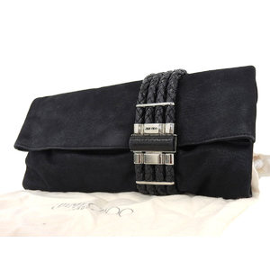 JIMMY CHOO Jimmy Choe coating suede clutch bag second black [20180209]