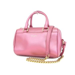 SAINT LAURENT Saint Laurent Leather Mini Handbag Chain Shoulder Pochette 2WAY Accessory Pouch Pink [20180509]