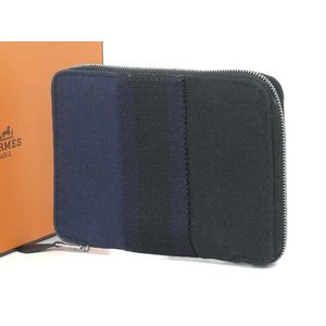 HERMES Hermes Four toe round zipper compact wallet multi-colored 紺 navy black [20180424]
