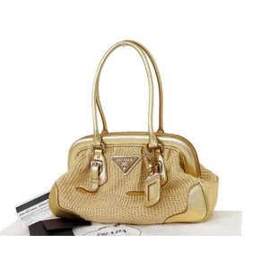 PRADA Prada straw jute handbag shoulder beige gold [20160430]