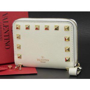 VALENTINO Valentino Garabani Spike Studs Compact Wallet Purses Leather White Ivory [20180528]