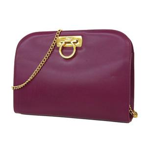 Salvatore Ferragamo Gancini Chain Shoulder Bag Pochette purple [20180316]