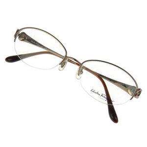Salvatore Ferragamo Gancini half rim glasses frame Date eyewear brown FE1906T [20170925]