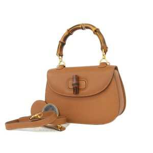 GUCCI Gucci Bamboo Turnlock 2way Handbag Shoulder Leather Brown With Mirror [2018705]