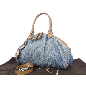 GUCCI Gucci Sukey GG denim leather 2 way hand bag shoulder blue brown [20180608]