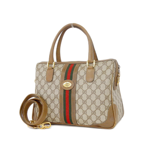 GUCCI Gucci GG Sherry Line Vintage 2way Boston Bag Shoulder Hand Web Striped Beige Brown [20180604]