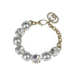 GUCCI Gucci fake pearl x rhinestone bracelet double G gold [20180608]