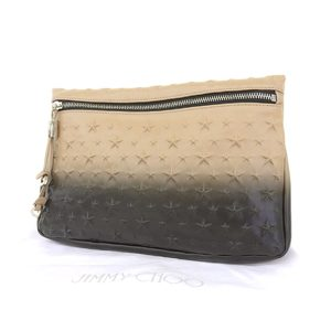 Jimmy Choo Leather Clutch Bag Beige,Black