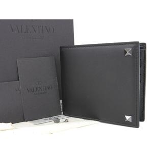 ヴァレンティノ(Valentino) VALENTINO ヴァレンティノ スタッズ 二つ折り 財布 ウォレット レザー 黒 ブラック [20180710]