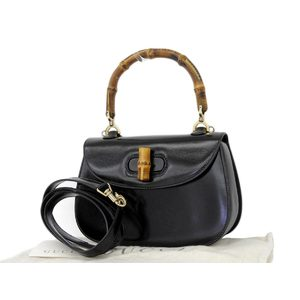 GUCCI Gucci Bamboo 2way handbag leather shoulder black [20180705]