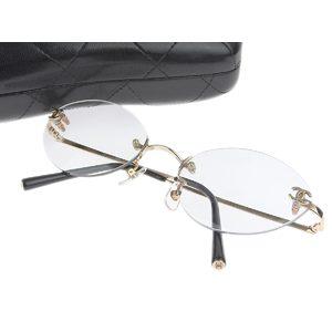 CHANEL Chanel K18PG Coco Mark Frameless Date Glasses Pink Gold 54 □ 19 130 [20180731b]