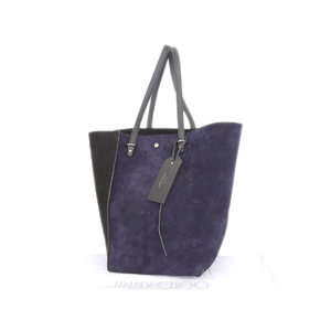 JIMMY CHOO Jimmy Choo Twist Tote Bag Shoulder Suede Navy Blue Black [20180712]