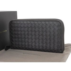 BOTTEGA VENETA Bottega Veneta Intrecherto Round zipper Long wallet Dark brown [20180628]