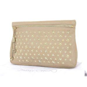 Jimmy Choo Leather Clutch Bag Beige