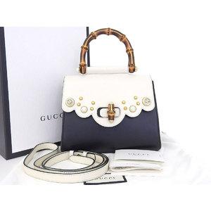 GUCCI Gucci Bamboo Nimwear Interlocking G 2way Handbag Shoulder Bicolor White Black 476448 [20180710]