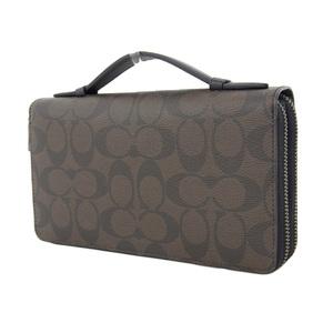 COACH Coach Signature Organizer Round Zip Long Wallet Clutch Bag Second Dark Brown [20180806]