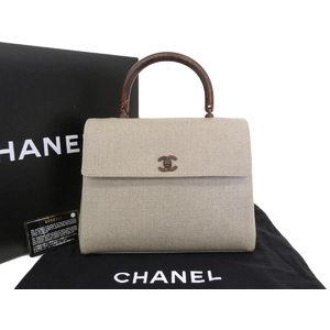 シャネル(Chanel) CHANEL シャネル ウッド調金具 ハンドバッグ キャンバス ベージュ 6番台 [20180724]