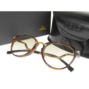 FENDI Fendi oval frame sunglasses eyewear rhinestone leopard brown FF0039 50 □ 19 [20180712]