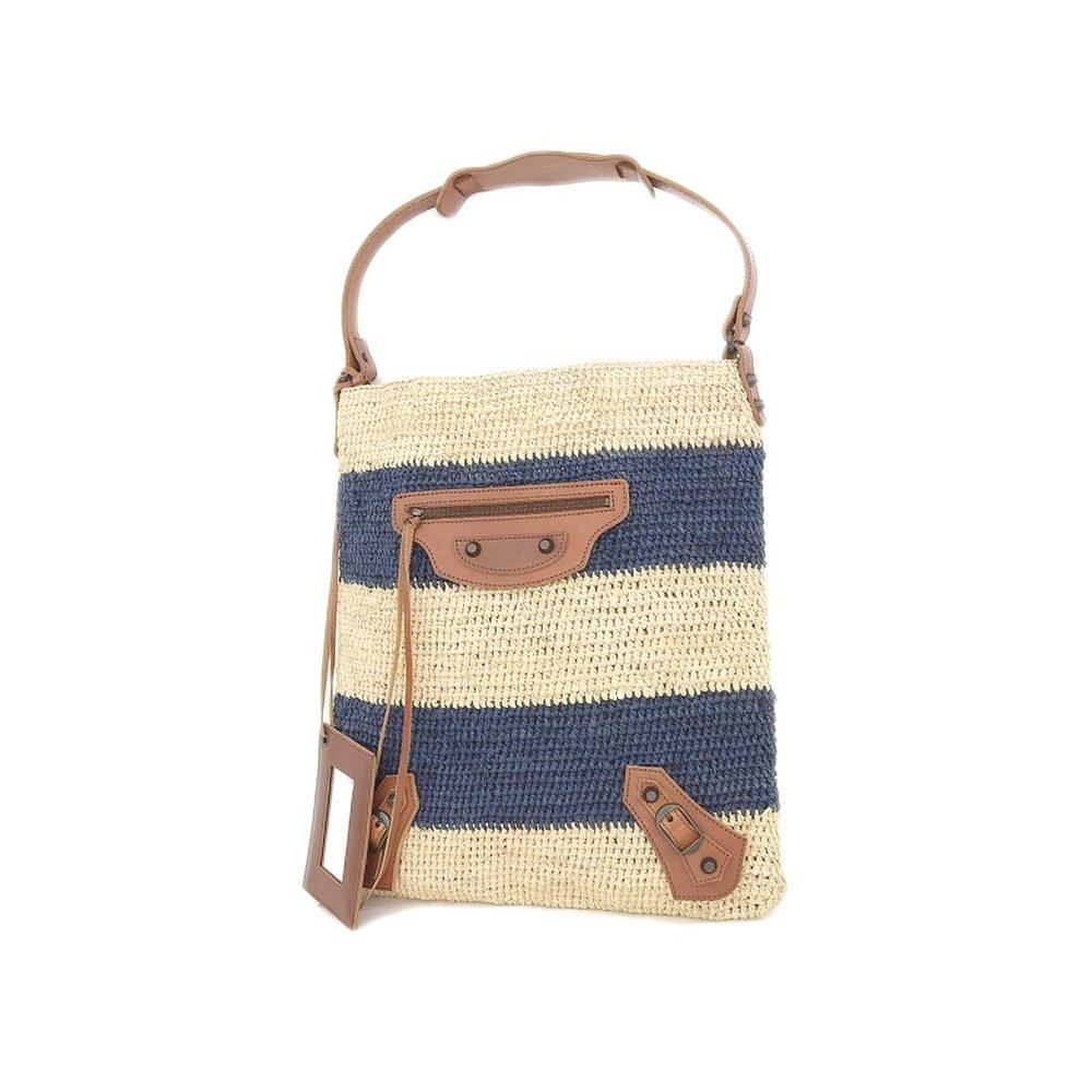 BALENCIAGA Balenciaga jute straw tote bag shoulder bicolor navy beige [20180731d]