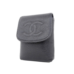 CHANEL Chanel Coco Mark Caviar Skin Cigarette Case Black 7th [20180731a]