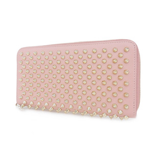 Christian Louboutin Panettone Spike Studs Round Fastener Purse Pink Gold [20180731a]