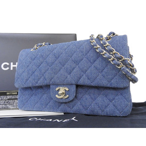 シャネル(Chanel) CHANEL シャネル マトラッセ デニム ダブルフラップ チェーンショルダーバッグ 青 ブルー [20180810]