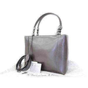 Christian Dior Maris Pearl Vintage 2way Handbag Shoulder Leather Metallic Gray [20180820]