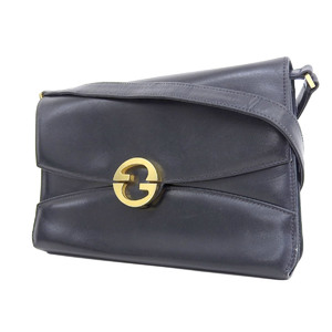 GUCCI Gucci leather vintage shoulder bag clutch second collar navy [20180824]