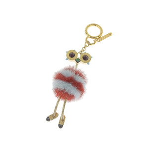 FENDI Fendi Mink Fur Ostrich Monster Bag Charm Turquoise Multicolor [20180831]