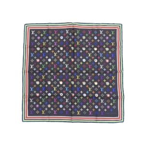 LOUIS VUITTON Louis Vuitton I Love Monogram Multicolor 100% Silk Scarf Stole Black Noir M71916 [20180913]