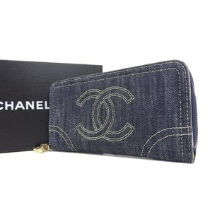 CHANEL Dekakoko mark Round zipper Long wallet Wallet Denim Blue Indigo 10th series [20180813]