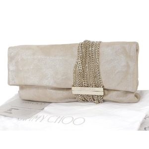 JIMMY CHOO Jimmy Cho leather clutch bag second chain beige [20180831]