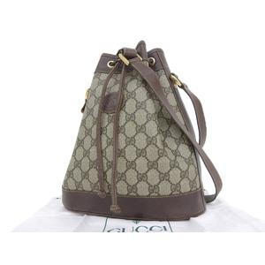 GUCCI Gucci PVC leather GG pattern vintage shoulder bag drawstring beige brown 001 ・ 86 0533 [20180824]