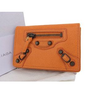 BALENCIA GA Balenciaga Studded Leather Folded Card Case Business Holder Orange [20180831]